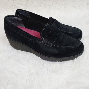 Munro Katie Black Wedge Penny Loafers 10W